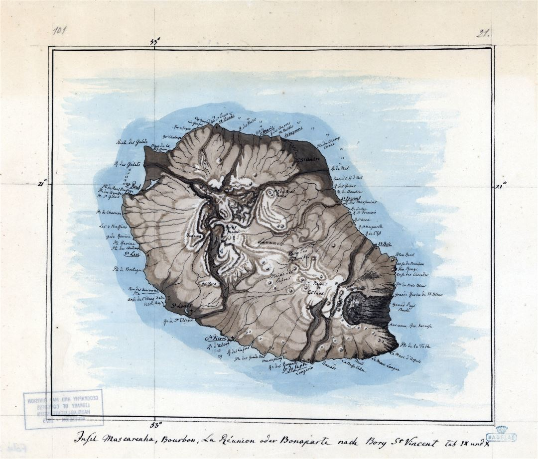 Large detailed old map of Reunion with relief - 1802