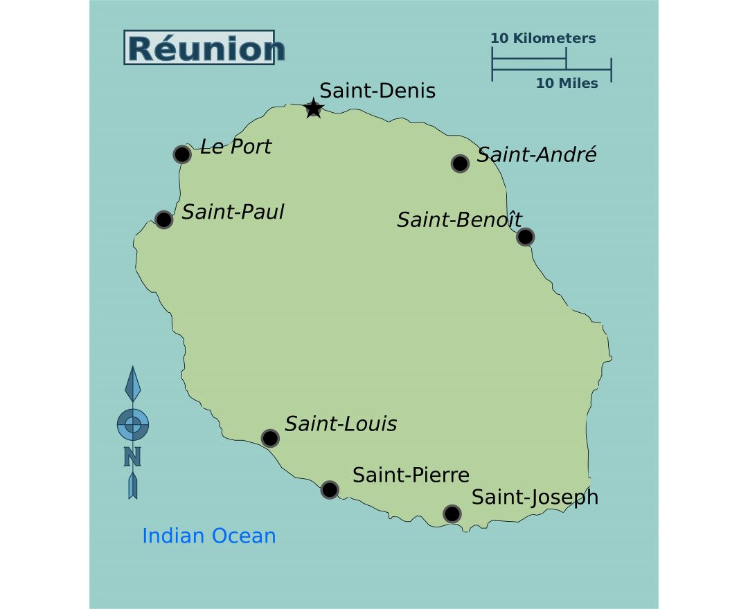 Maps of Reunion Detailed map of Reunion in English Tourist map