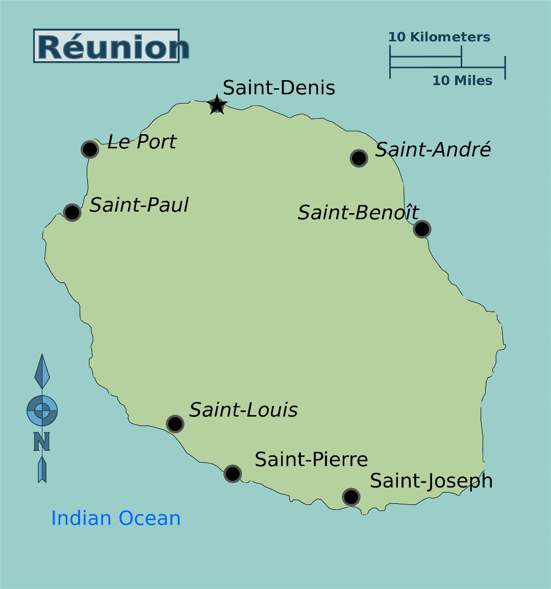 Large map of Reunion with cities