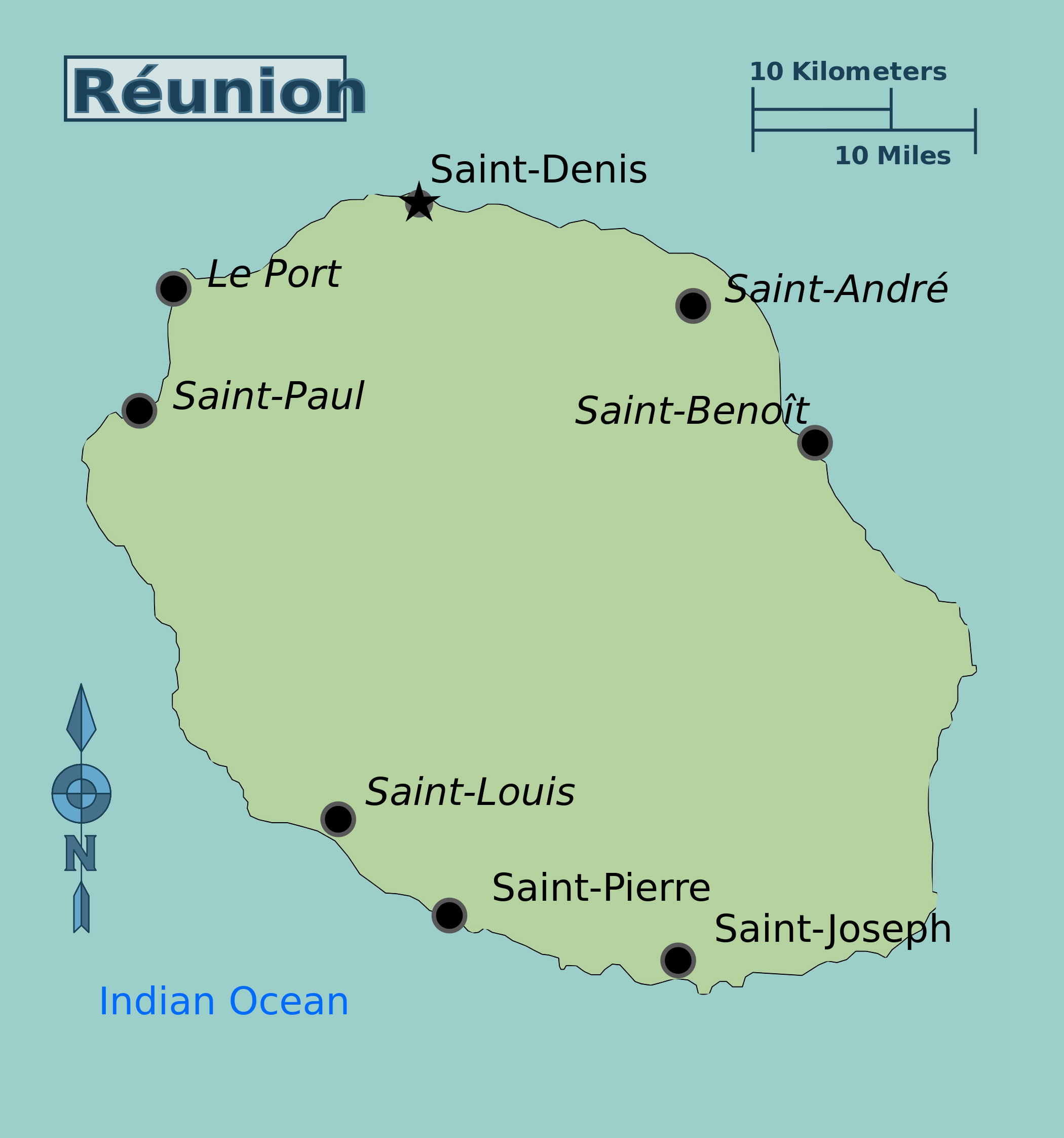 Large map of Reunion with cities Reunion Africa Mapsland