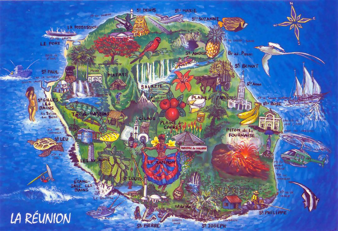 Large tourist illustrated map of Reunion
