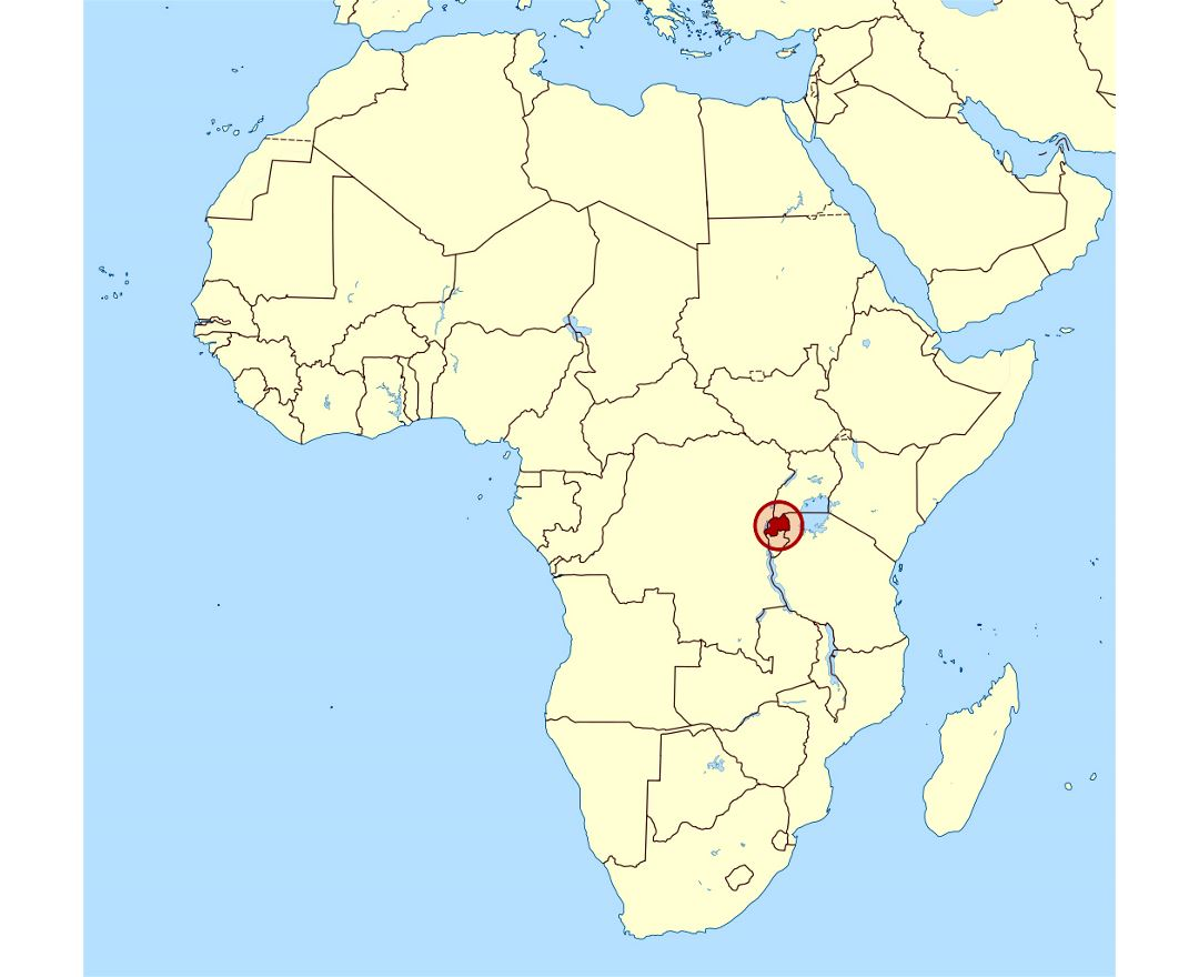 Detailed location map of Rwanda in Africa