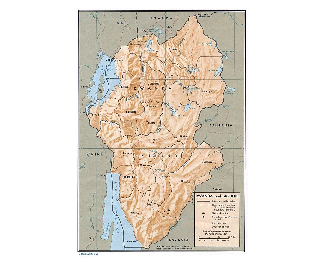 Maps of rwanda detailed map of rwanda in english tourist map detailed political and administrative map of rwanda and burundi with relief roads and major cities gumiabroncs Choice Image