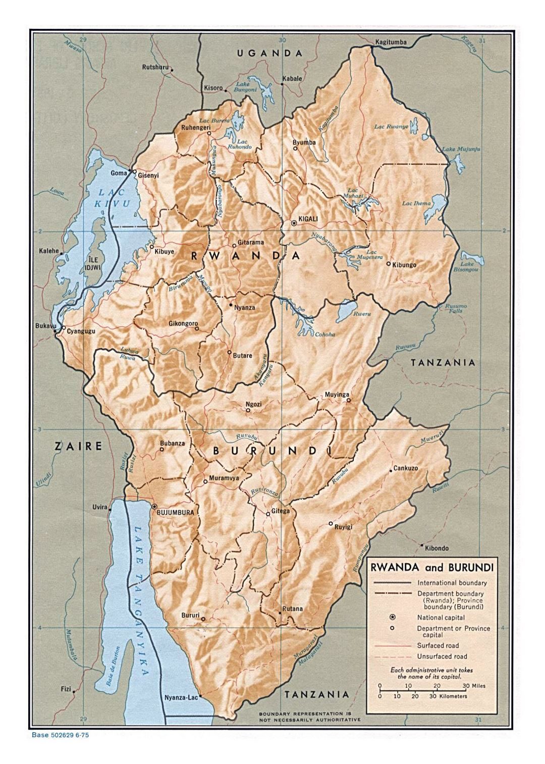 Detailed political and administrative map of Rwanda and Burundi with relief, roads and major cities - 1975