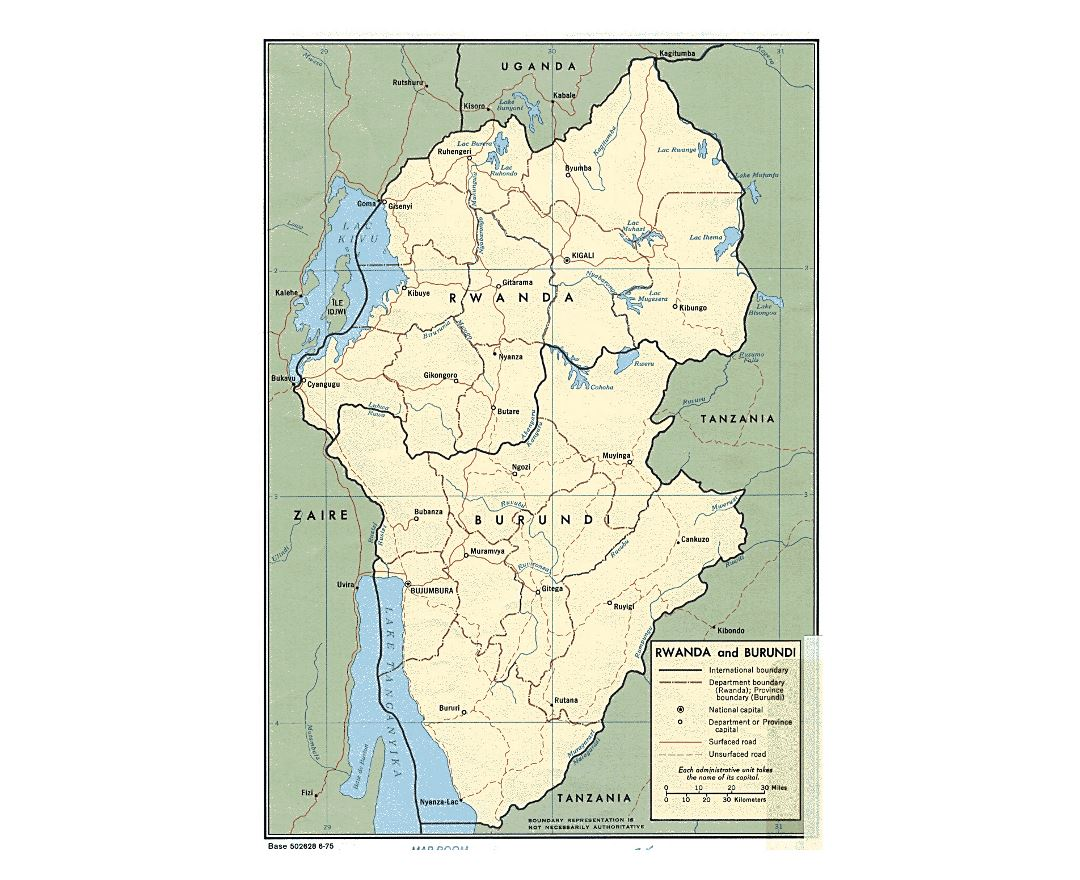 Detailed political and administrative map of Rwanda and Burundi with roads and major cities - 1975