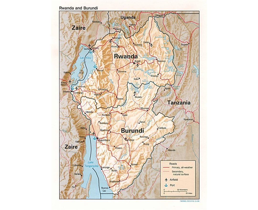 Detailed political map of Rwanda and Burundi with relief, roads, major cities, ports and airports - 1996