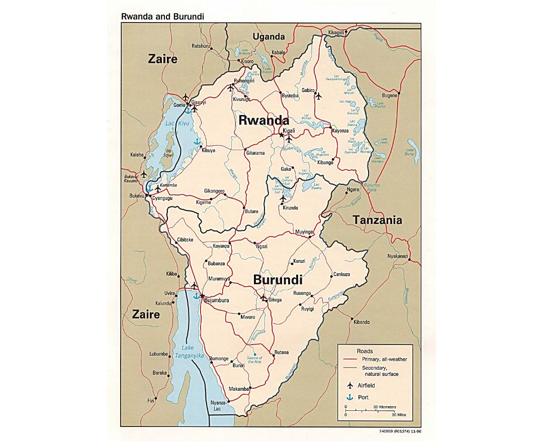 Detailed political map of Rwanda and Burundi with roads, major cities, ports and airports - 1996