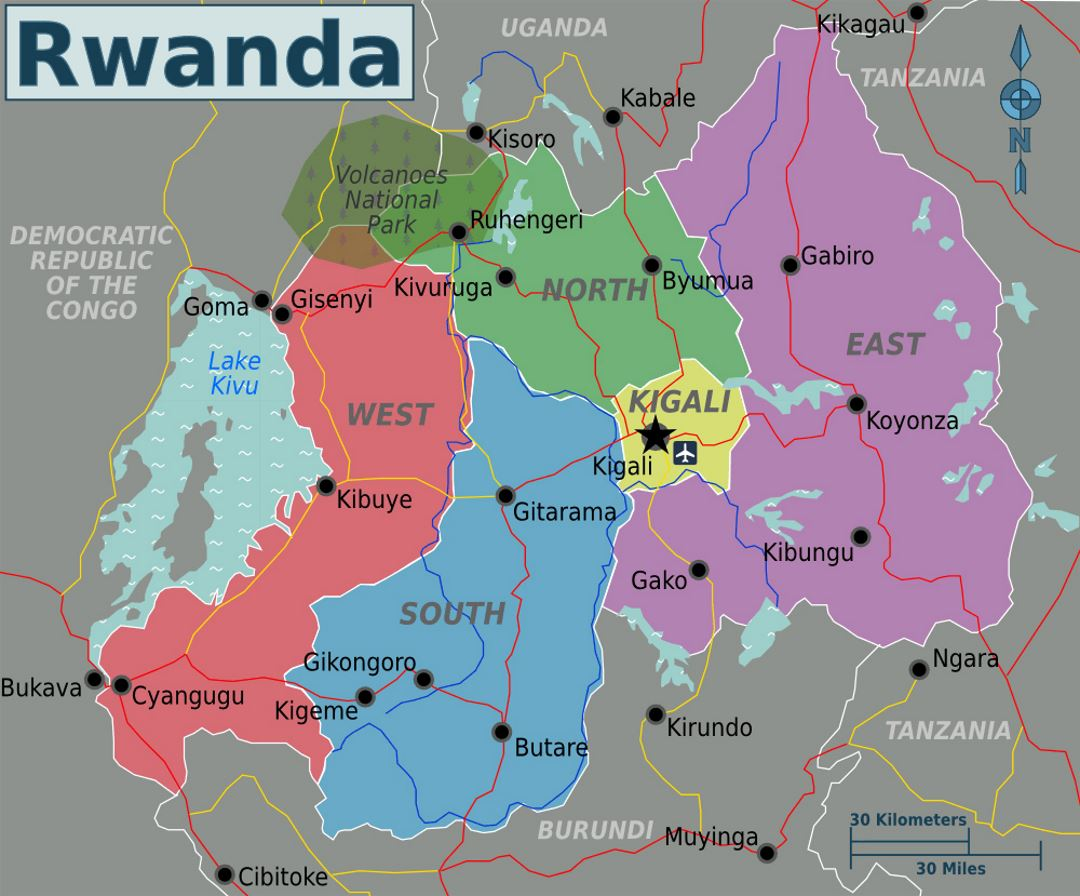 Detailed Regions Map Of Rwanda Rwanda Africa Mapsland Maps