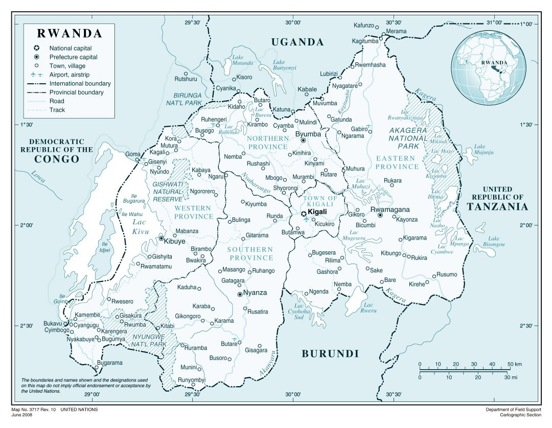 Large detailed political and administrative map of Rwanda with all roads, cities and airports