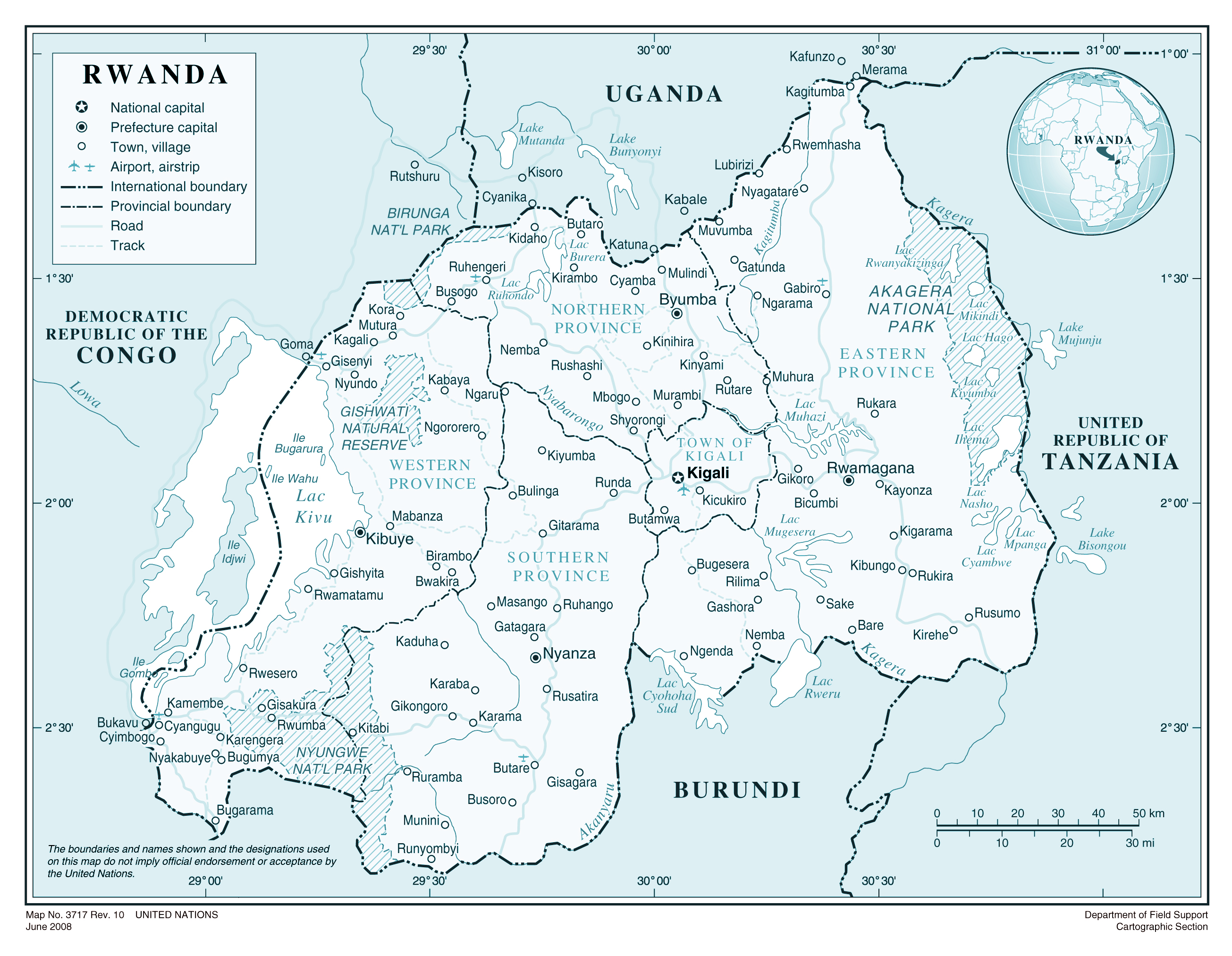 Large detailed political and administrative map of Rwanda with all