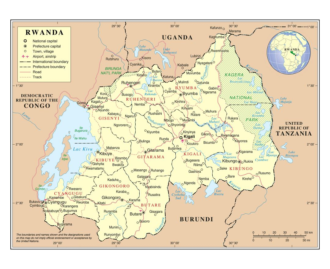 Maps of rwanda detailed map of rwanda in english tourist map large detailed political and administrative map of rwanda with roads cities and airports gumiabroncs Choice Image
