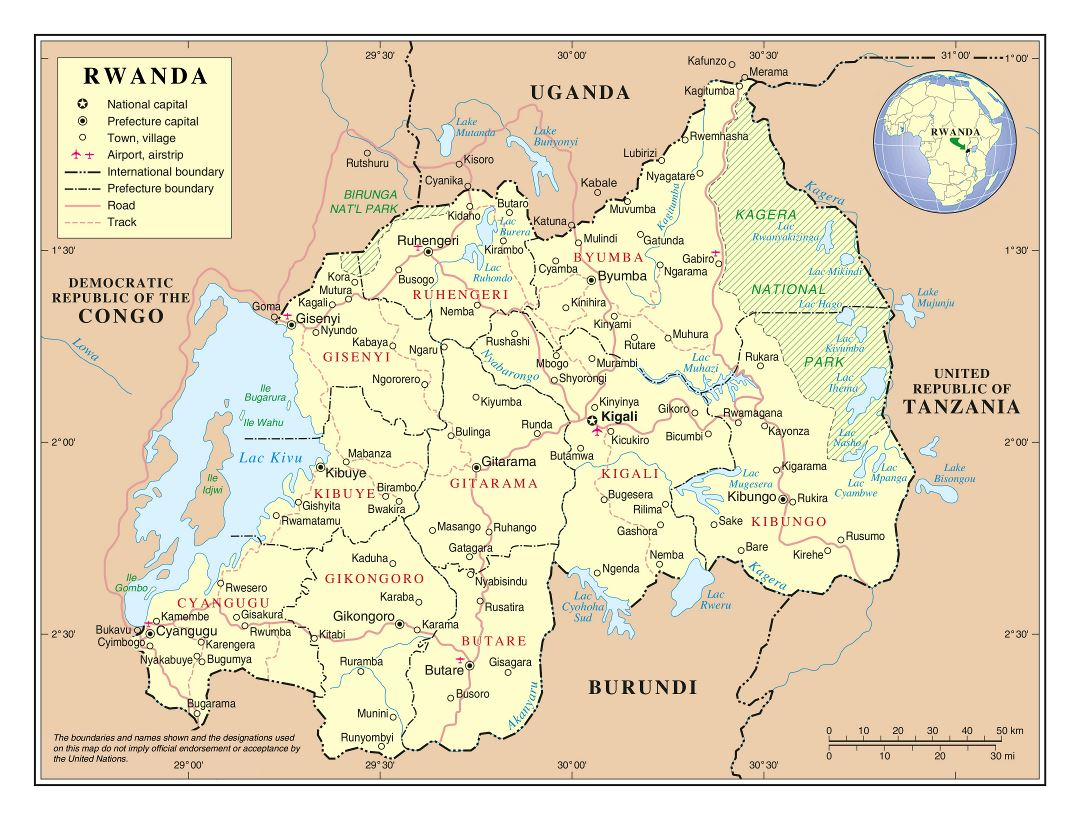 Large detailed political and administrative map of Rwanda with roads, cities and airports