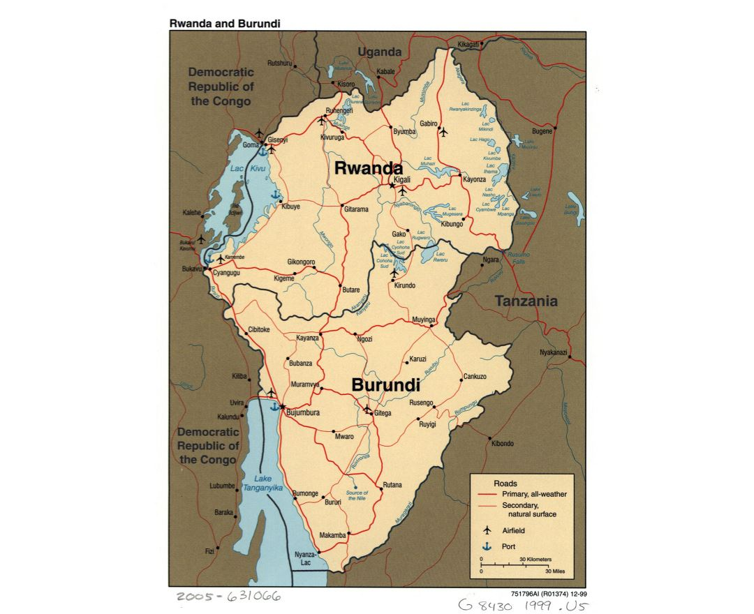 Large detailed political map of Rwanda and Burundi with roads, major cities, ports and airports - 1999