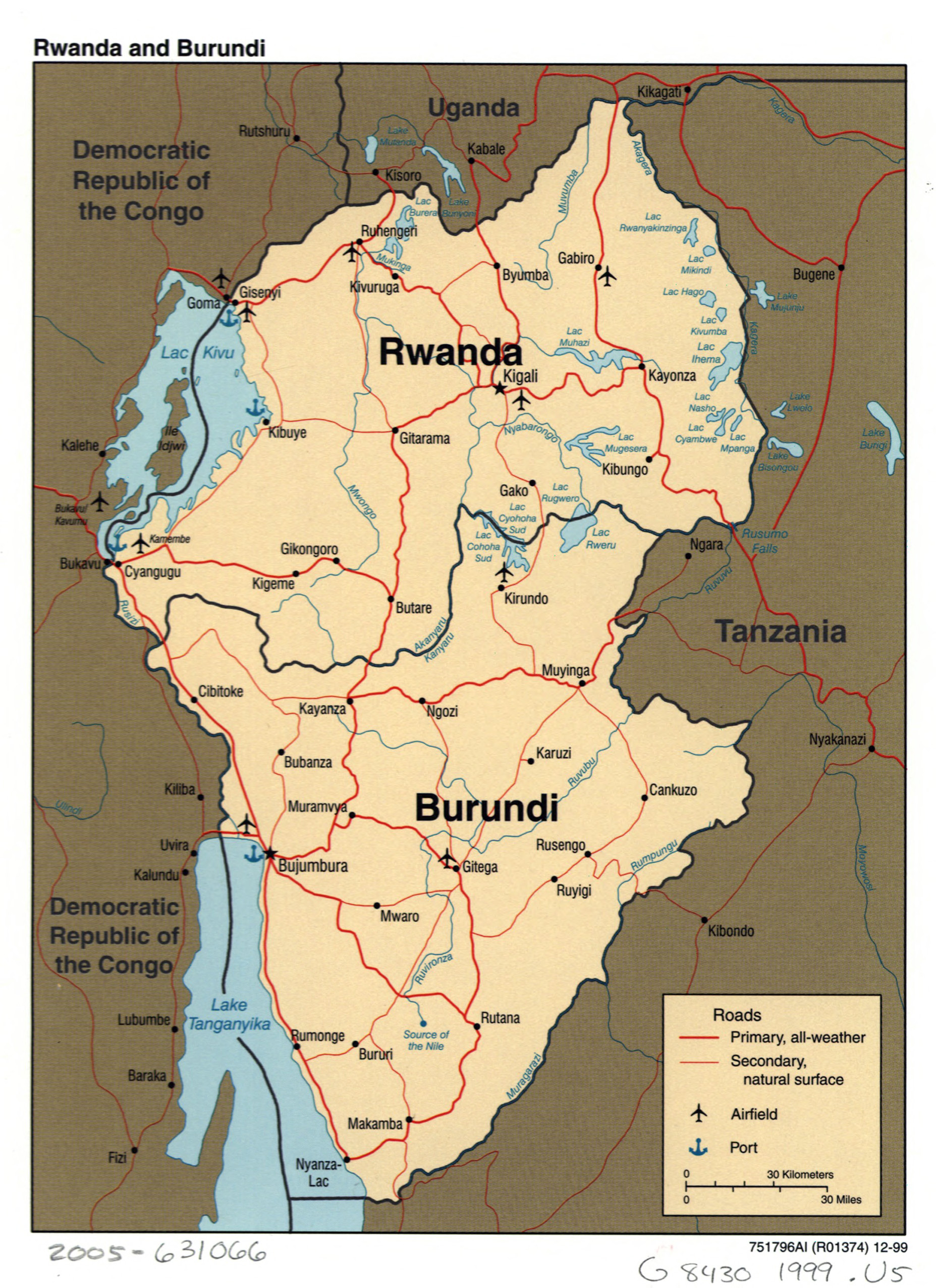 Large Detailed Political Map Of Rwanda And Burundi With Roads Major