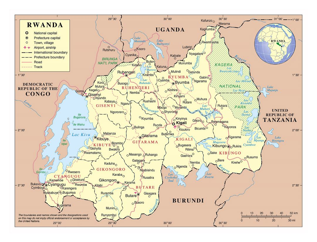 Large political and administrative map of Rwanda with roads, all cities and airports