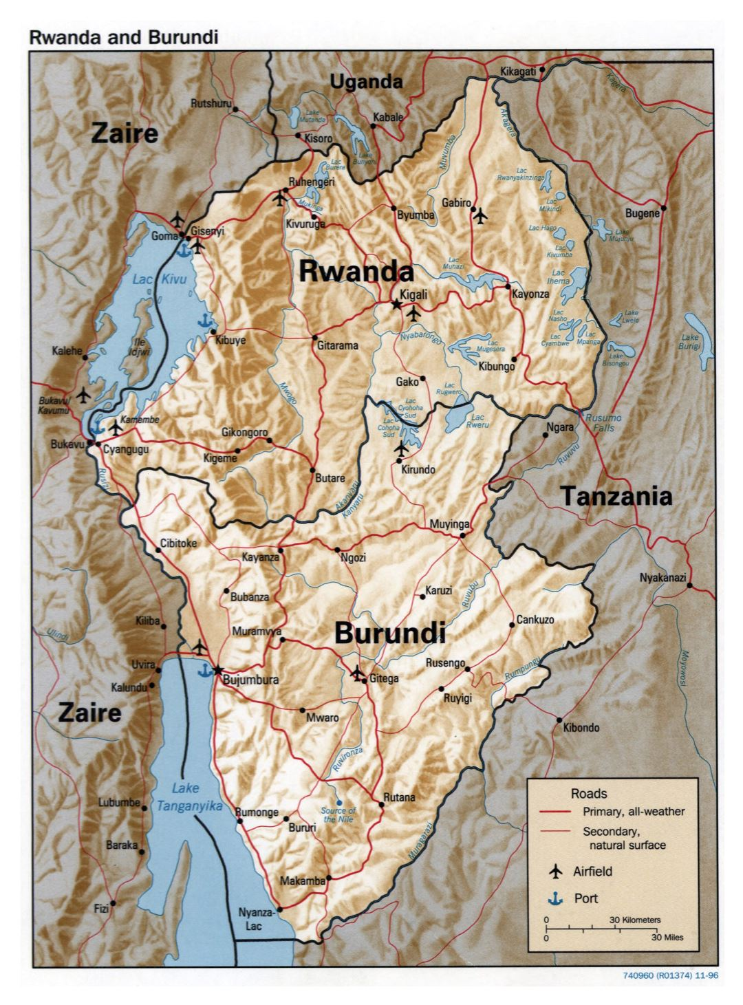 Large political map of Rwanda and Burundi with relief, roads, major cities, ports and airports - 1996
