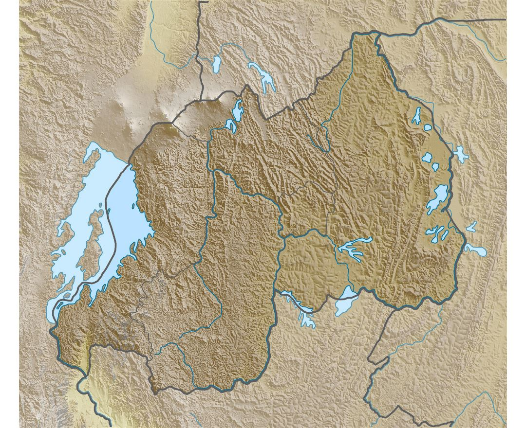 Large relief map of Rwanda