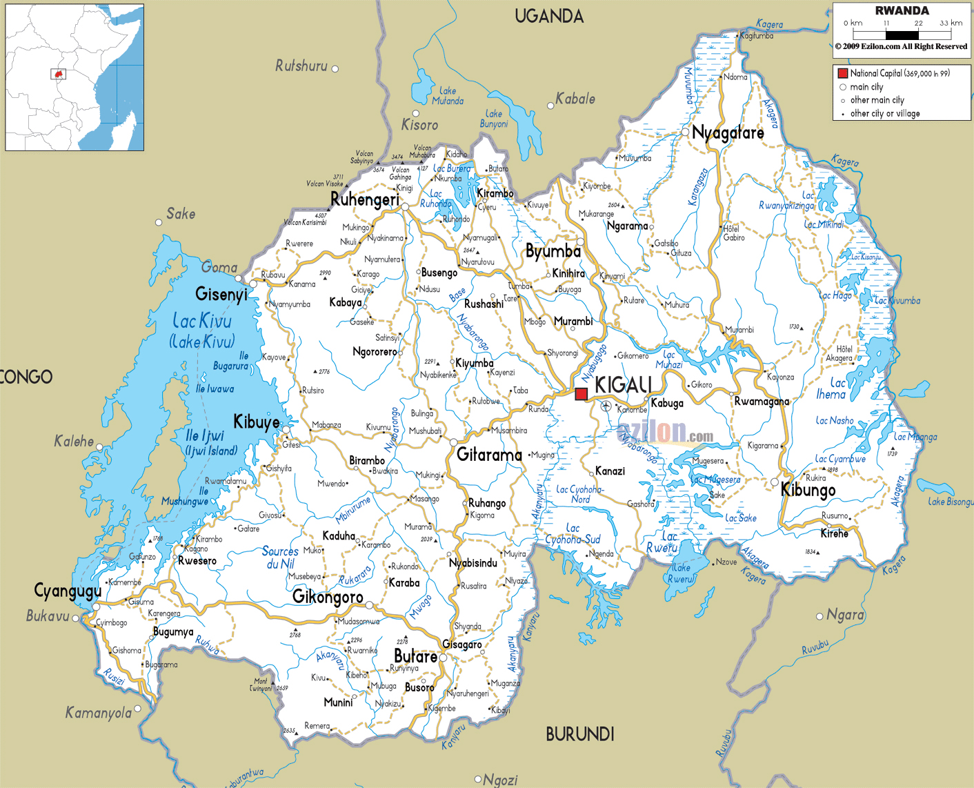 Large road map of Rwanda with cities and airports | Rwanda | Africa ...