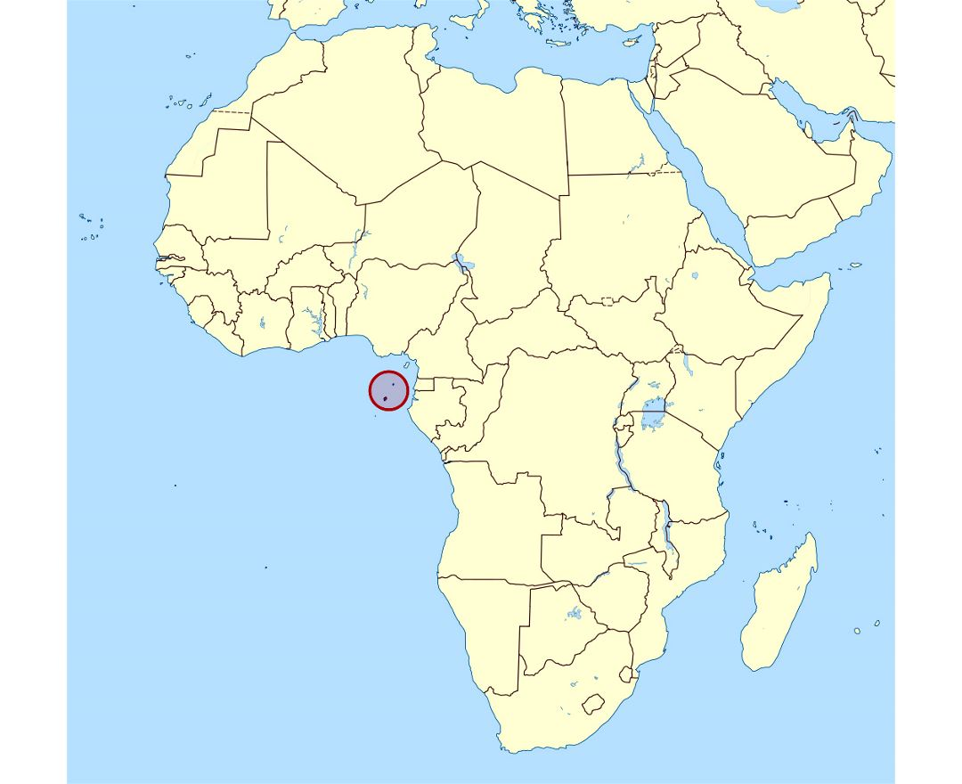 Detailed location map of Sao Tome and Principe in Africa