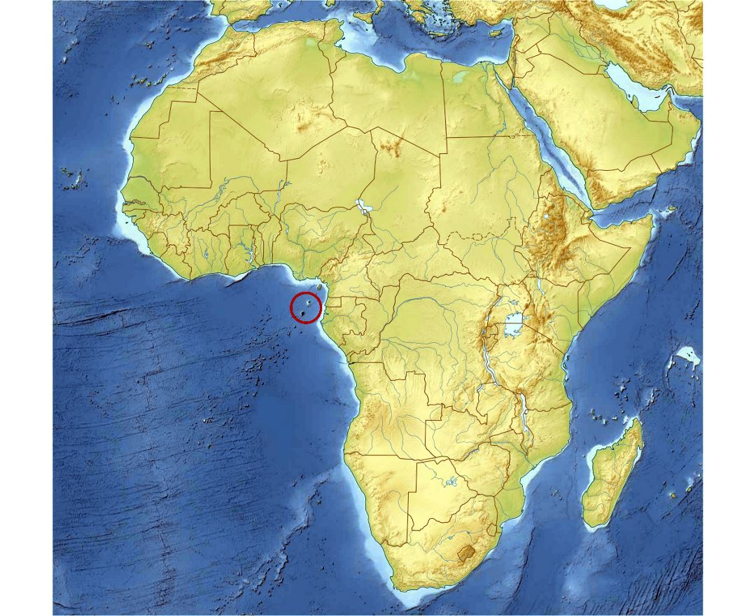 Detailed location map of Sao Tome and Principe in Africa with relief