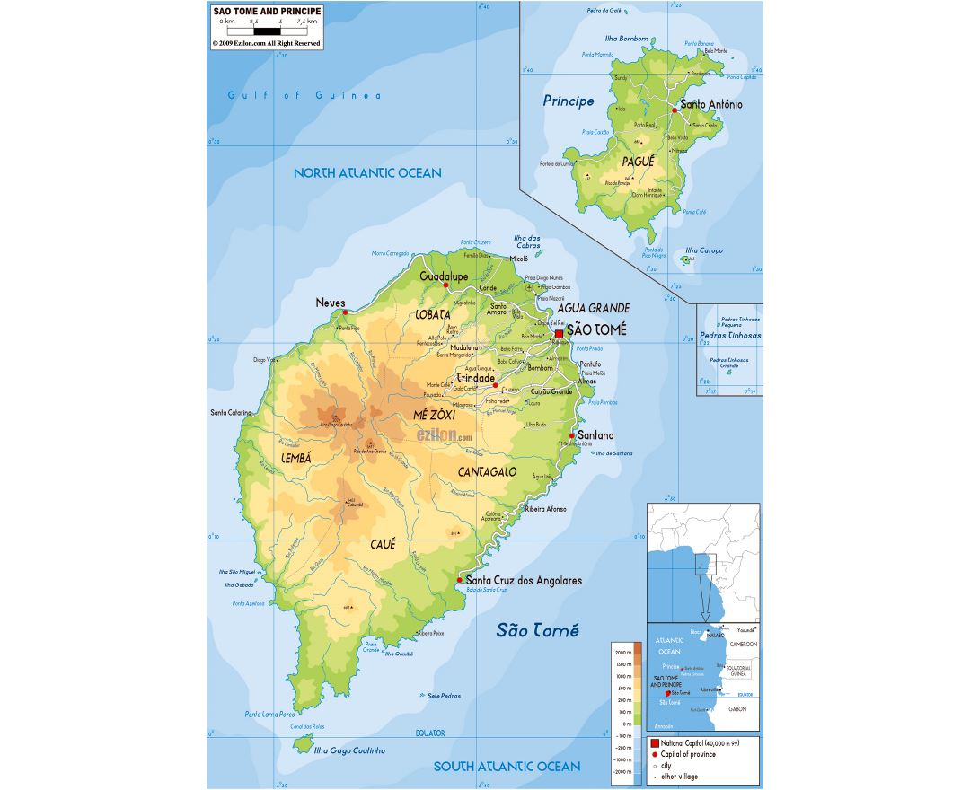 Large physical map of Sao Tome and Principe with roads, cities and airports