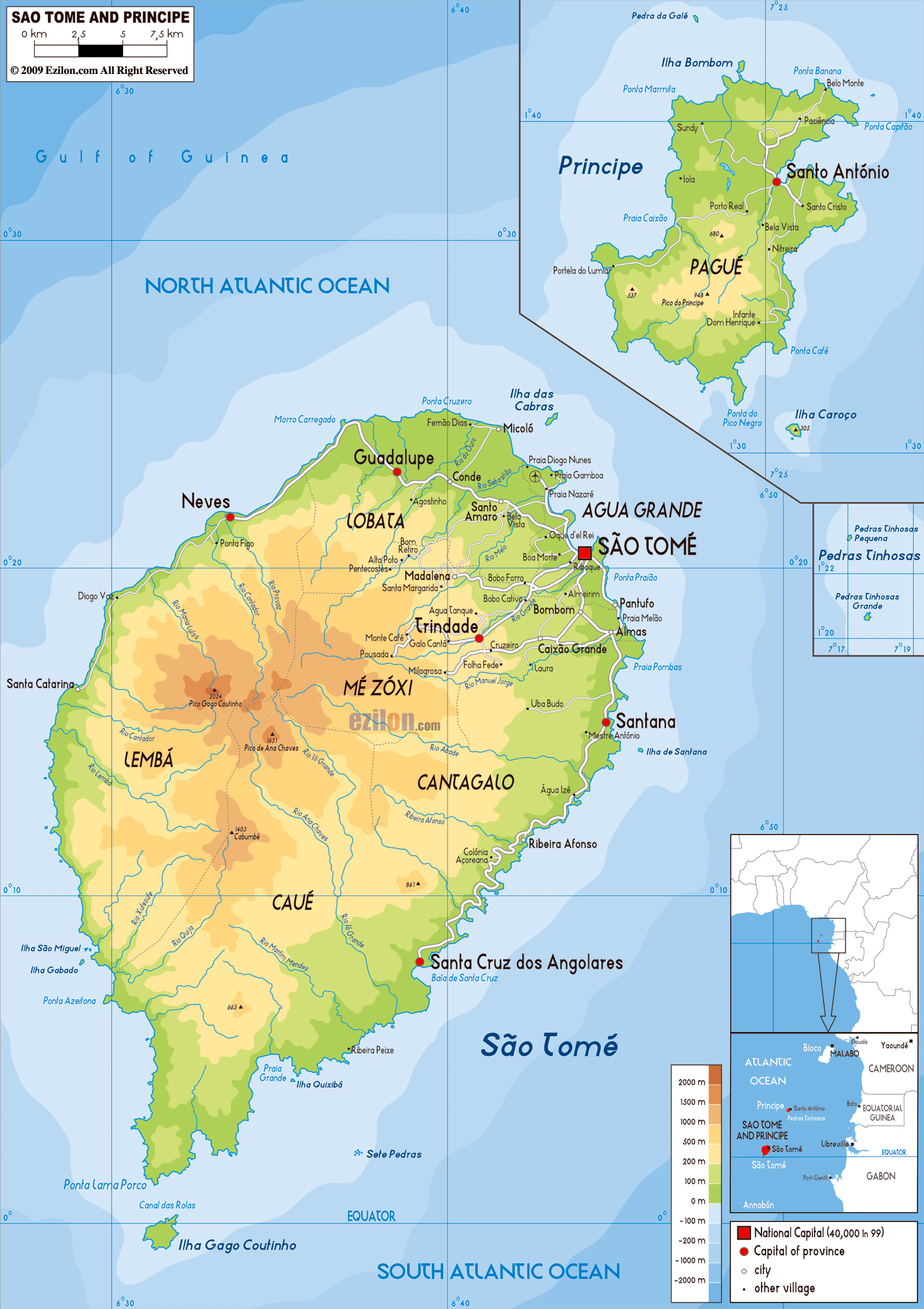 Large physical map of Sao Tome and Principe with roads ... on bahia on world map, united republic of tanzania on world map, isle of man on world map, turks and caicos islands on world map, northern mariana islands on world map, british virgin islands on world map, antigua and barbuda on world map, manama on world map, freetown on world map, cocos islands on world map, reunion on world map, sao tome e principe flag, british guiana on world map, democratic republic of the congo on world map, saint kitts and nevis on world map, mayotte on world map, holy see on world map, republic of korea on world map, principe island map, northern ireland on world map,