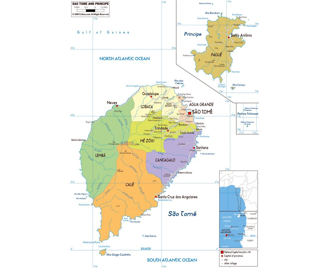 Large political and administrative map of Sao Tome and Principe with roads, cities and airports