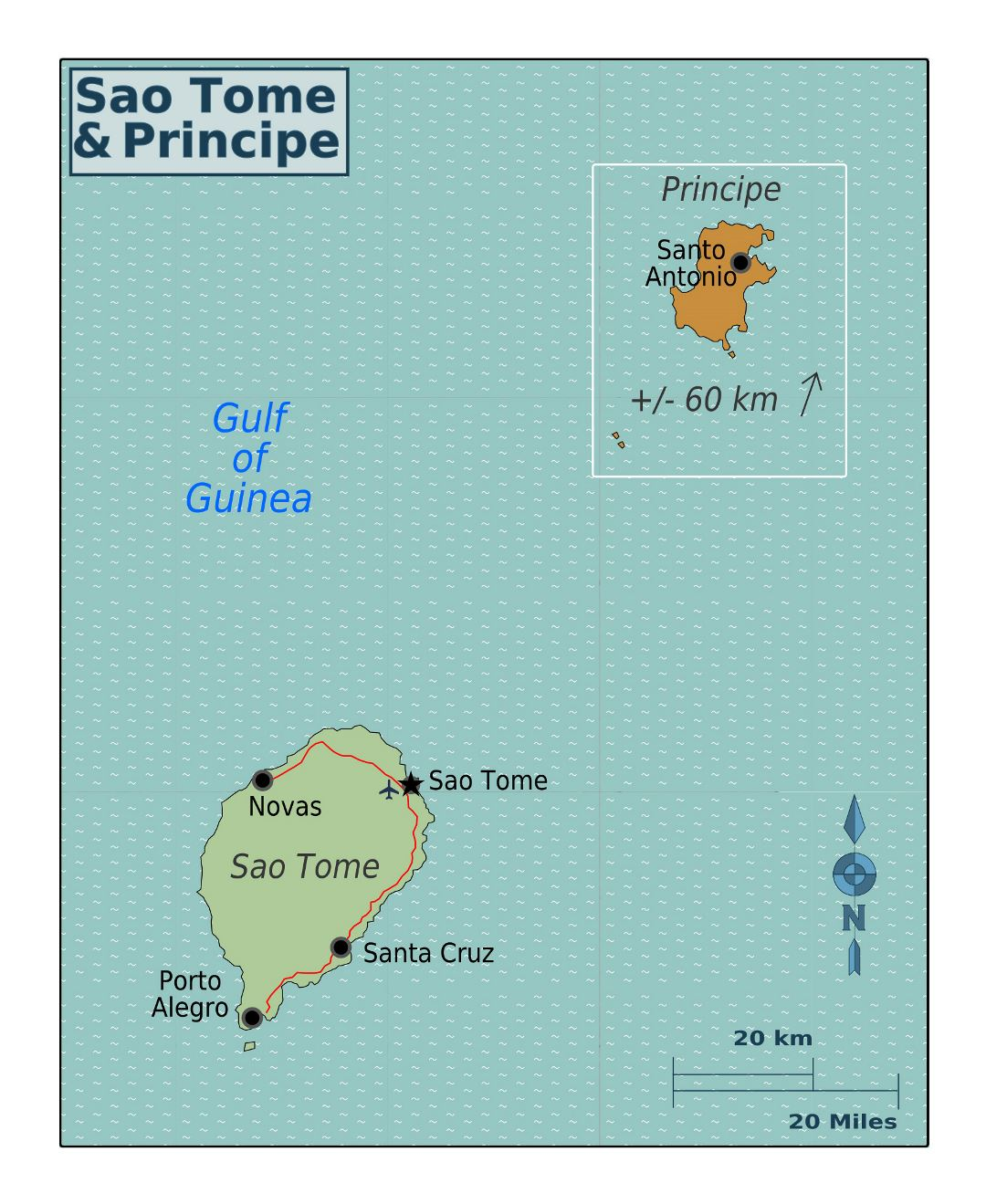 Large regions map of Sao Tome and Principe
