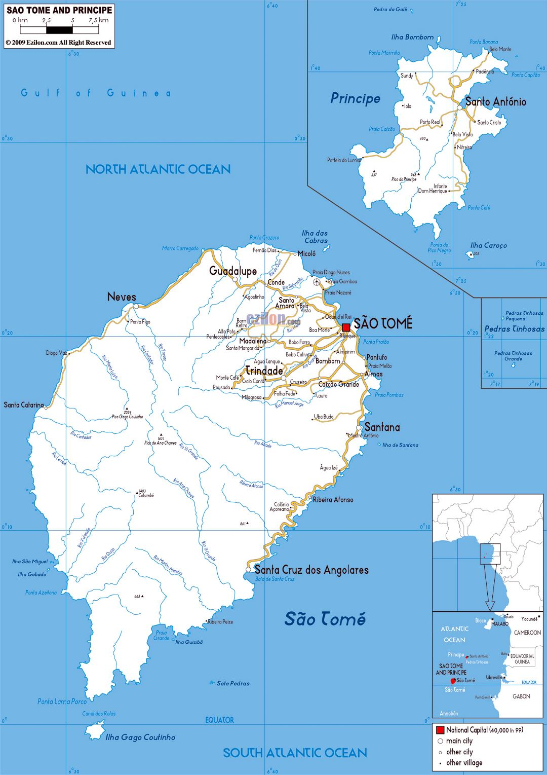 Large road map of Sao Tome and Principe with cities and airports