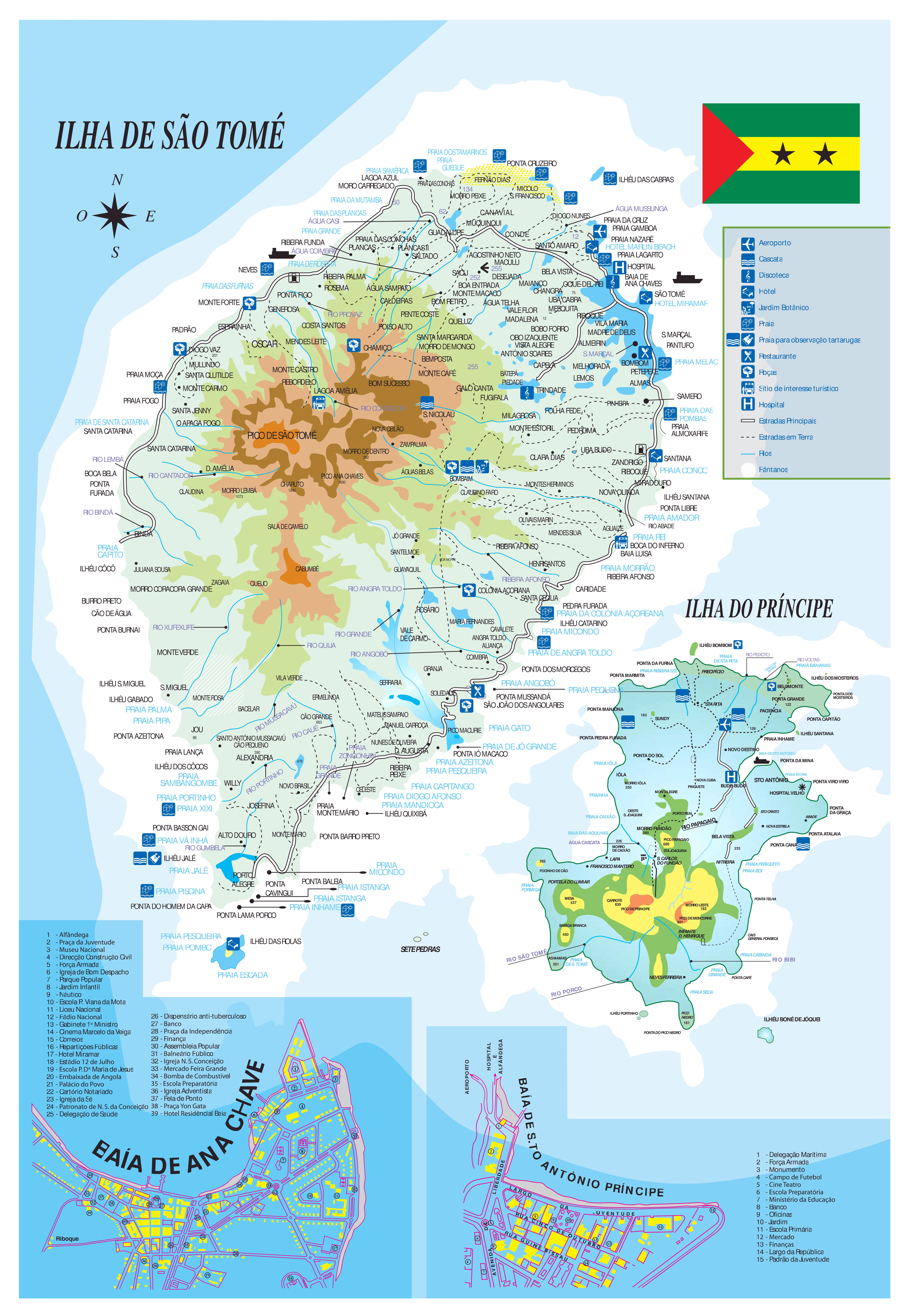 Large scale tourist map of Sao Tome and Principe Sao Tome and