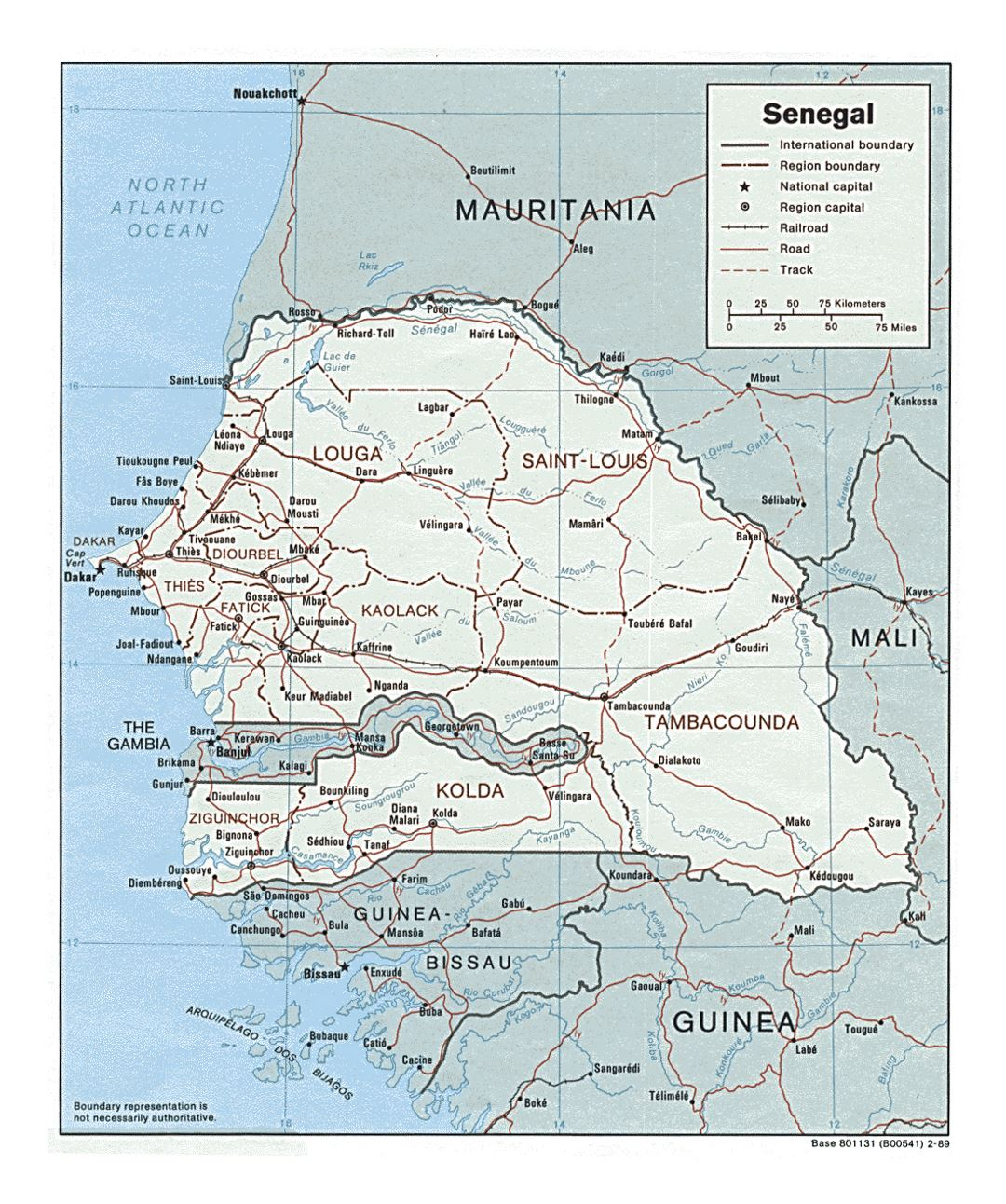 Detailed political and administrative map of Senegal with roads, railroads and major cities - 1989