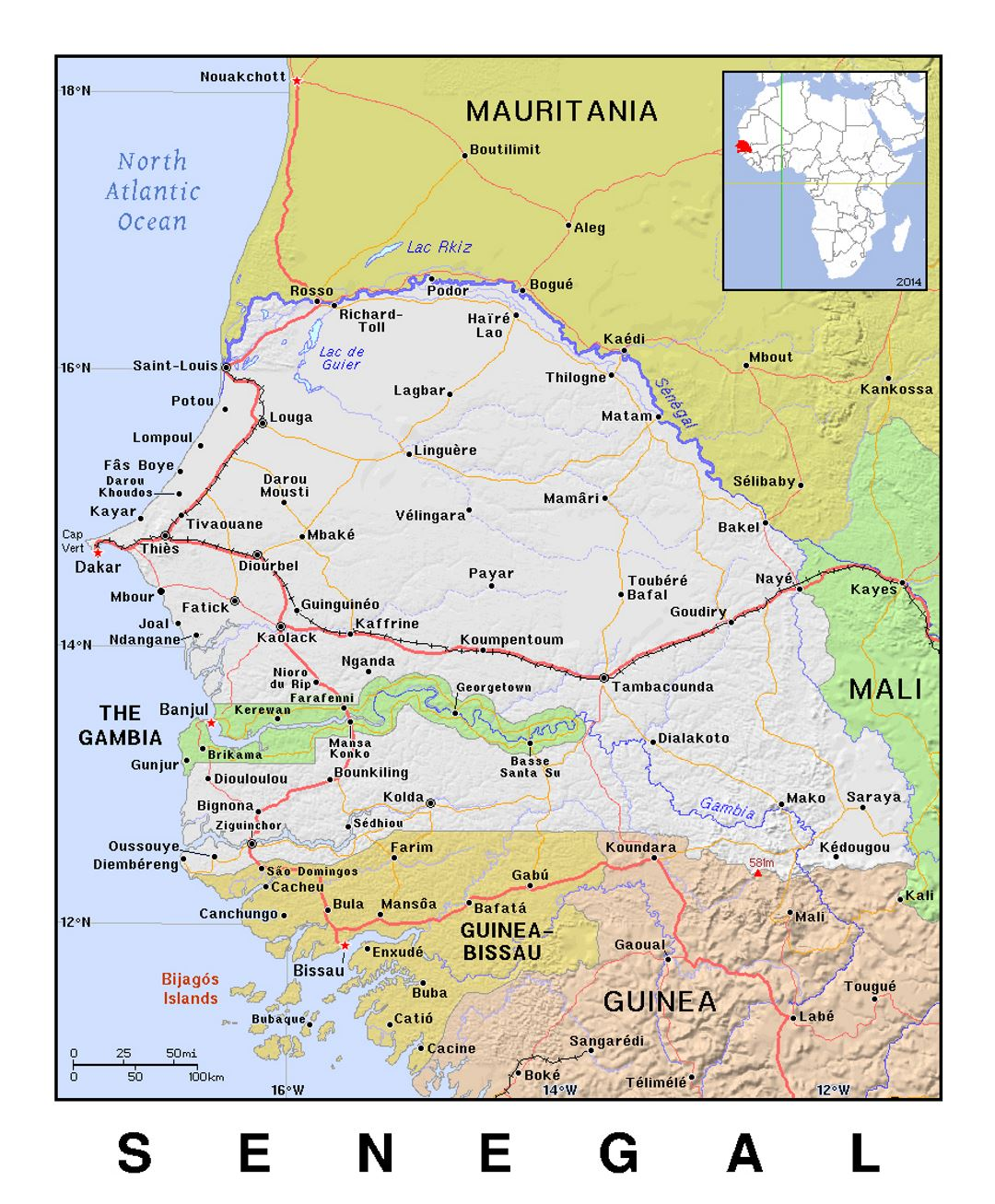 Detailed political map of Senegal with relief