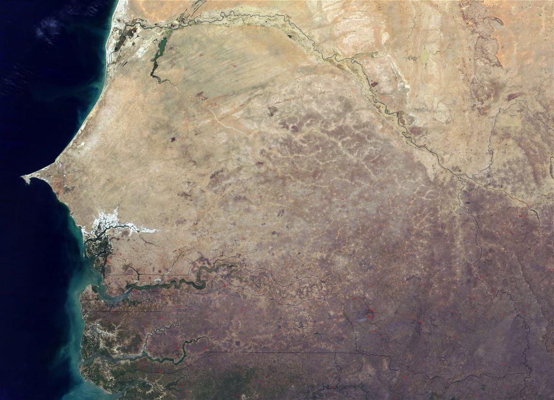 Large detailed satellite map of Senegal