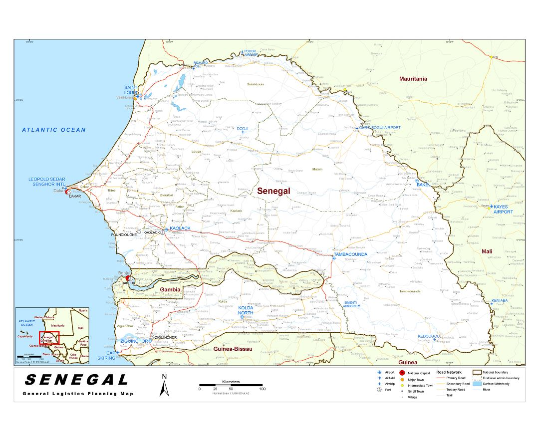 Maps of Senegal Detailed map of Senegal in English Tourist map