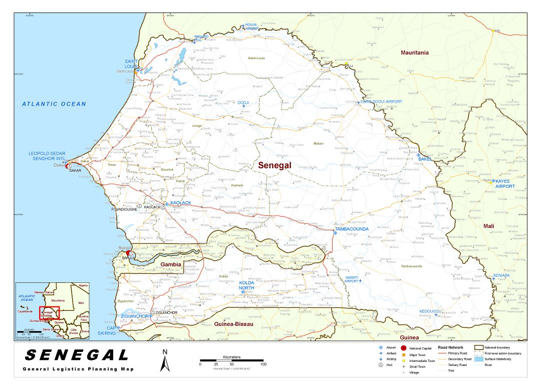Large detailed Senegal General Logistics Planning map