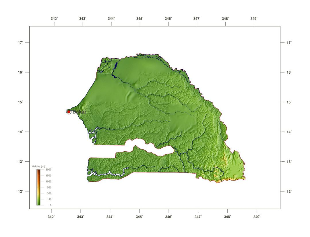 Large elevation map of Senegal