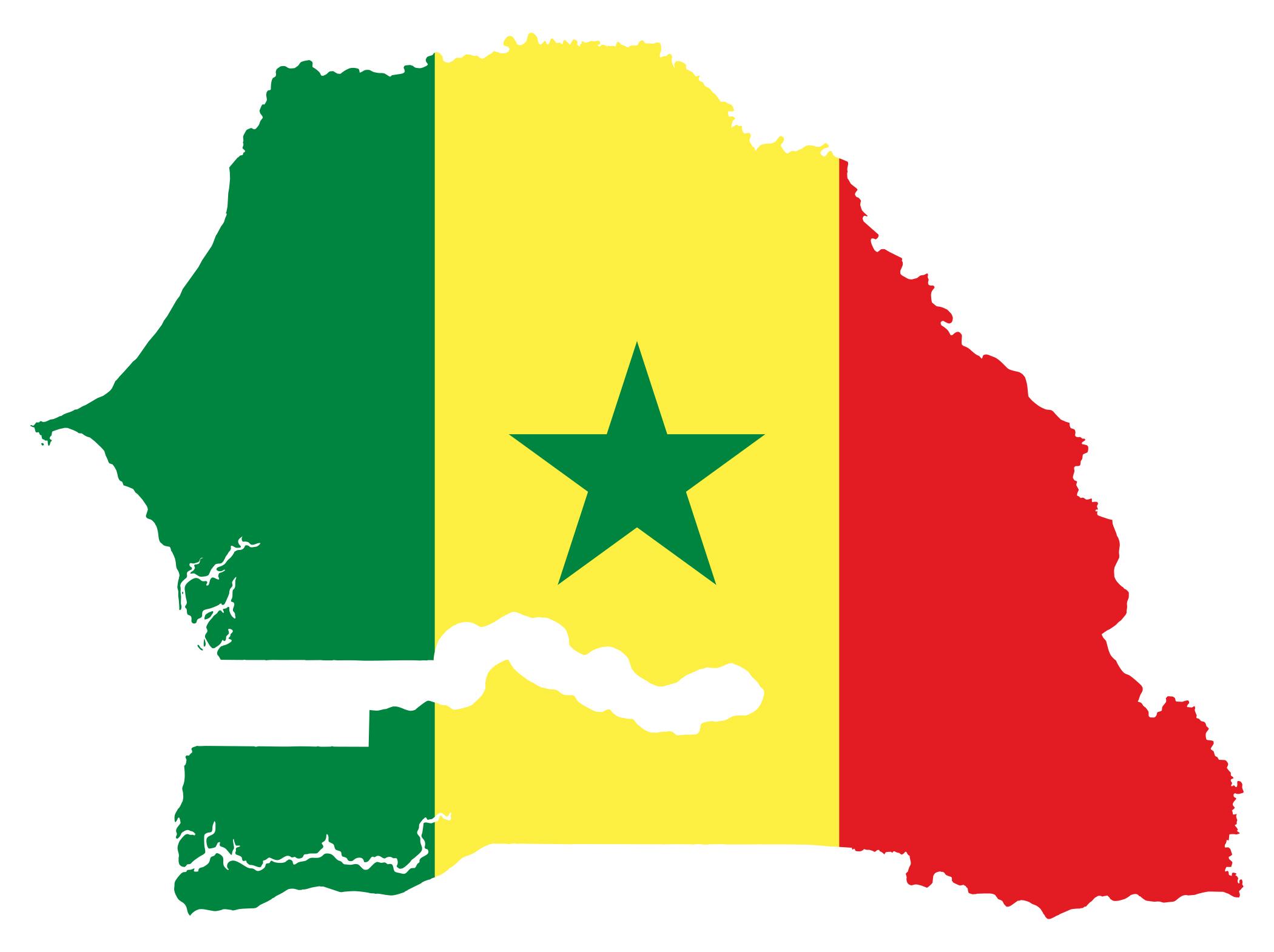 Large flag map of Senegal Senegal Africa Mapsland Maps of