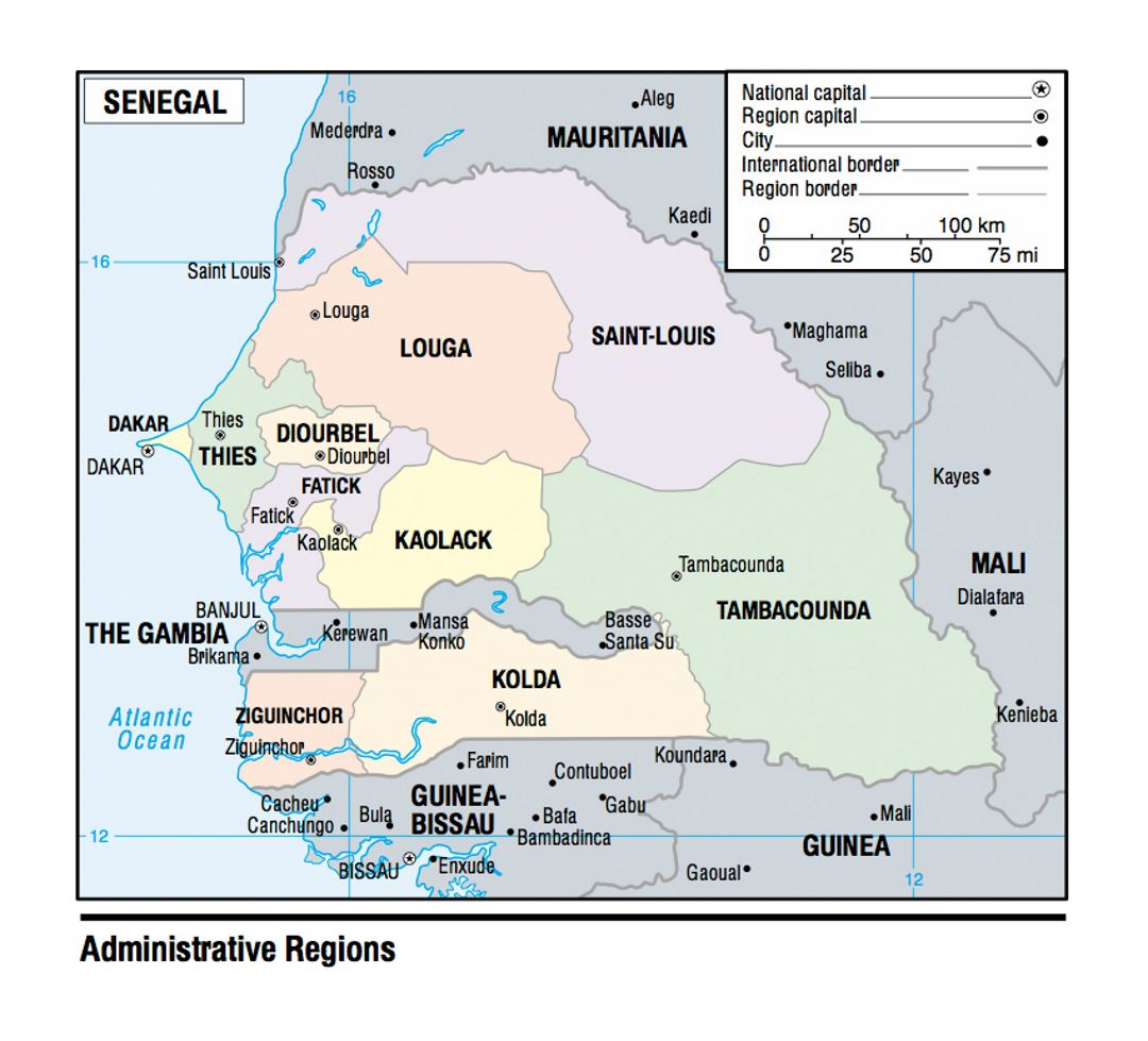 Map of Senegal Administrative Regions - 2003