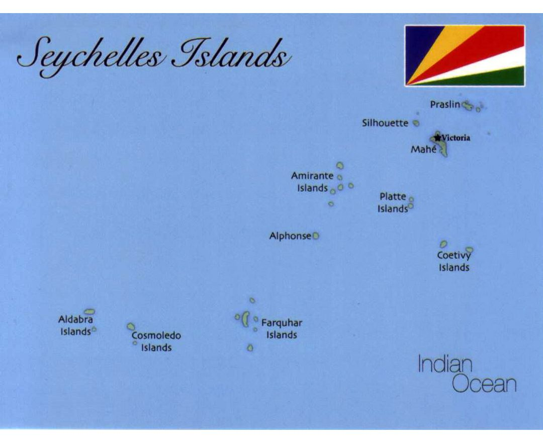 Detailed map of Seychelles Islands with flag