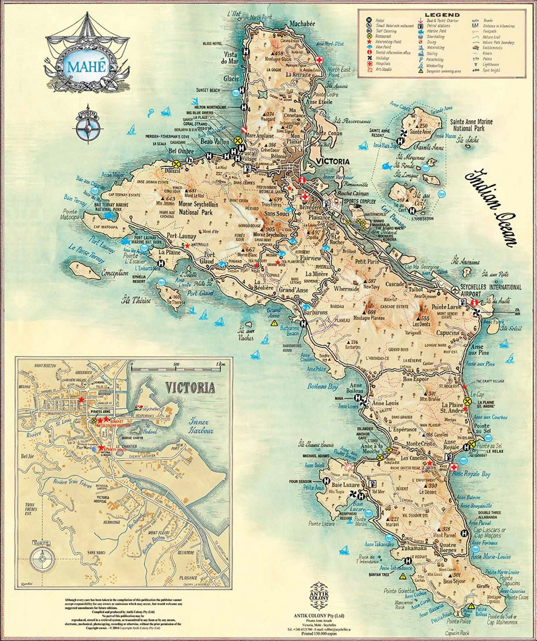 Detailed travel map of Mahe Island, Seychelles with other marks