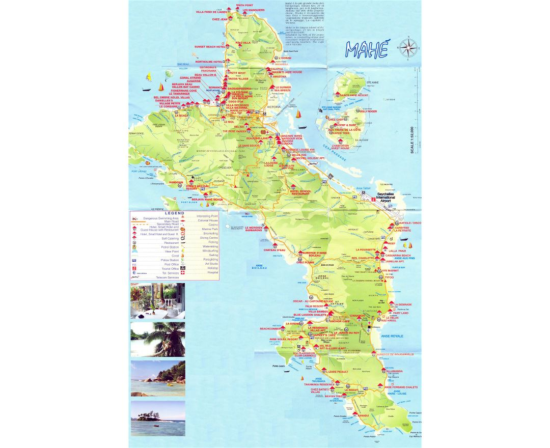 Large detailed tourist map of Mahe Island (Seychelles)