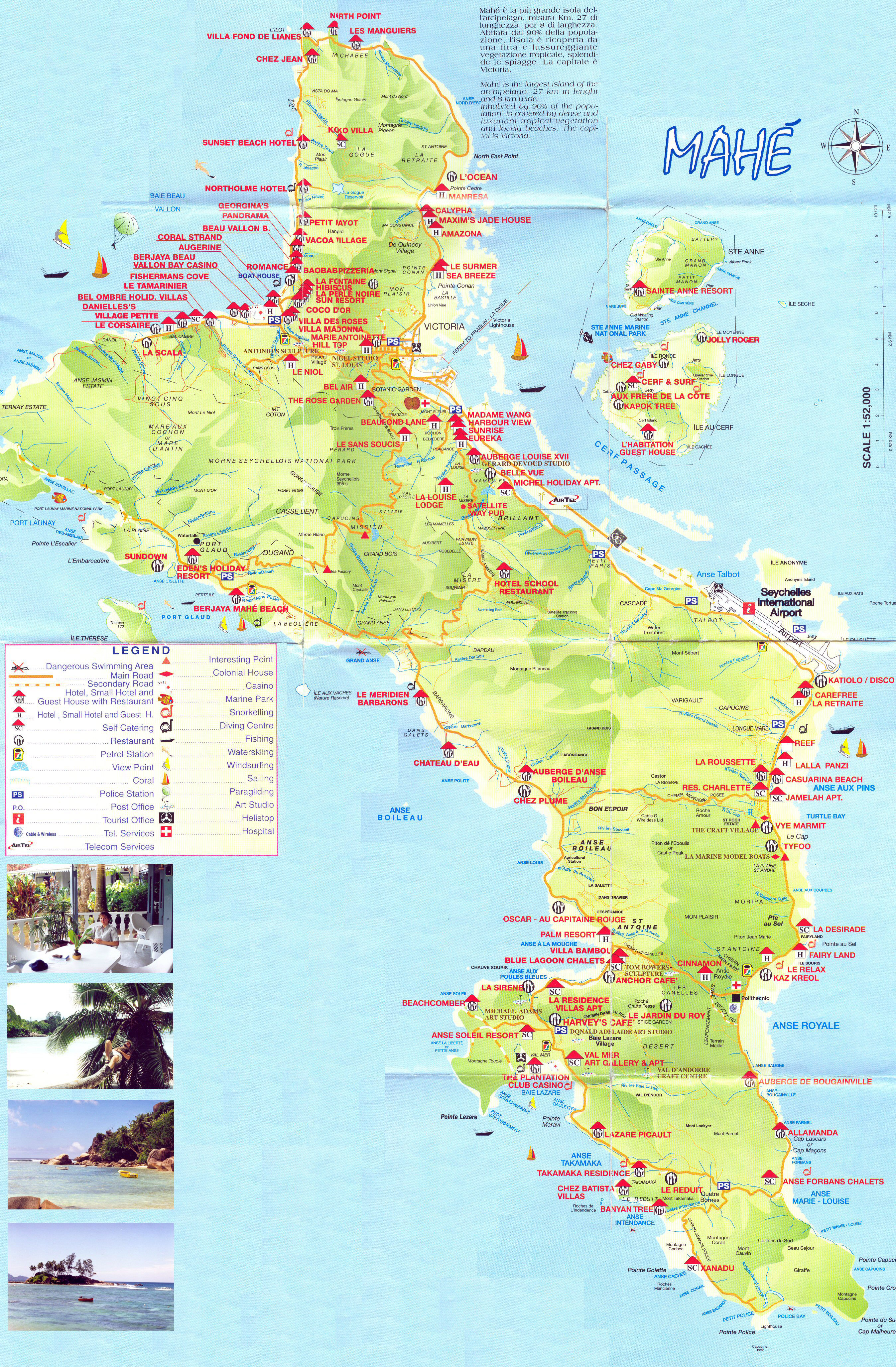 Large Detailed Tourist Map Of Mahe Island Seychelles - Map of seychelles world