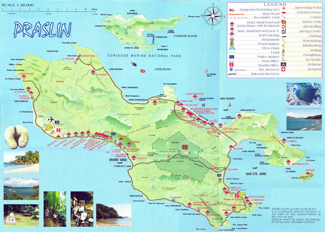 Large detailed tourist map of Praslin Island (Seychelles)