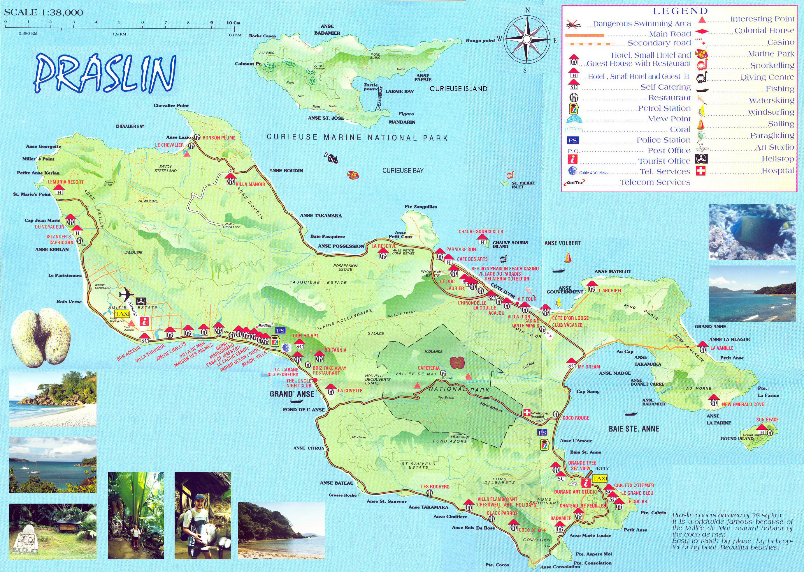 Large Detailed Tourist Map Of Praslin Island Seychelles - Map of seychelles world