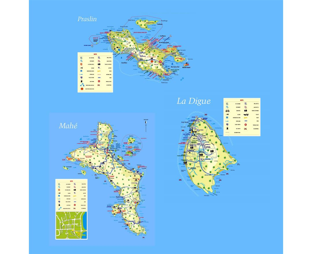 Large detailed tourist map of Seychelles with all marks