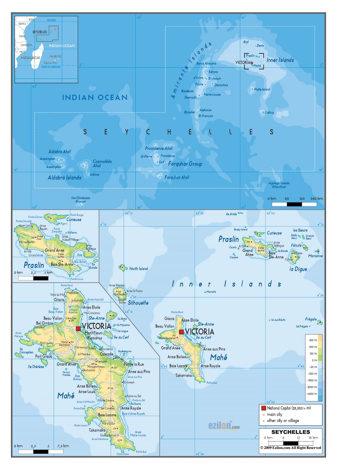 Large physical map of Seychelles with roads, all cities and airports
