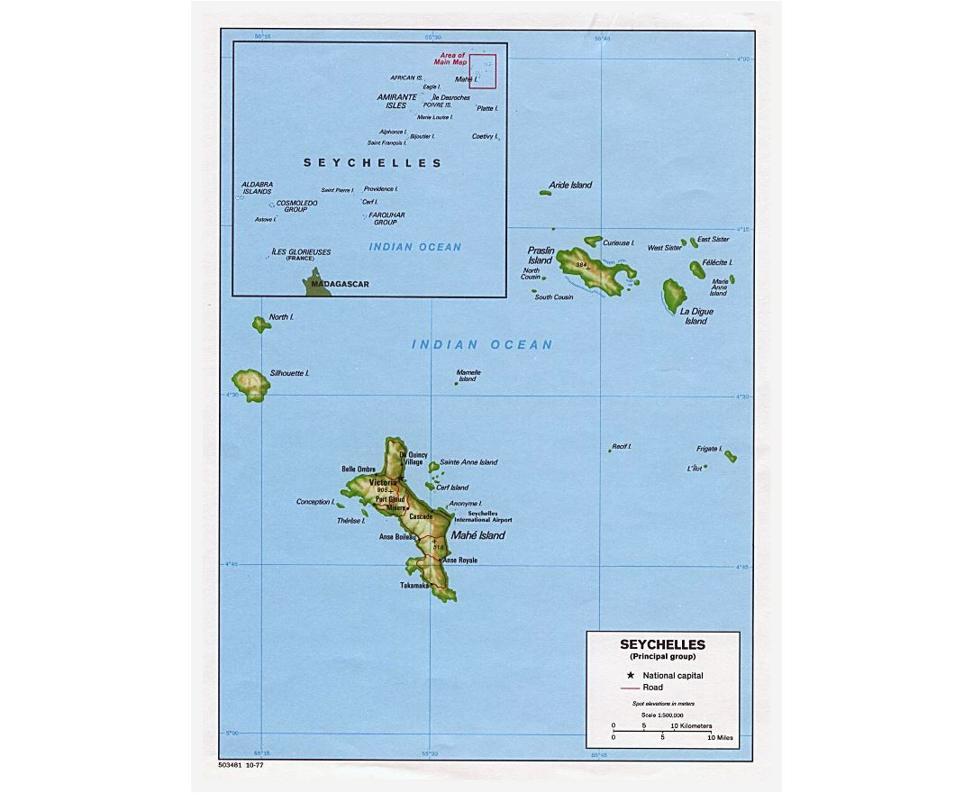 Large political map of Seychelles with relief, roads and major cities - 1977