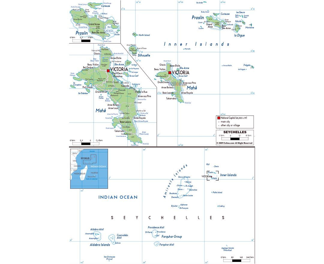 Large political map of Seychelles with roads, cities and airports