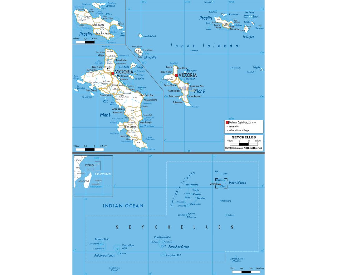 Large road map of Seychelles with cities and airports