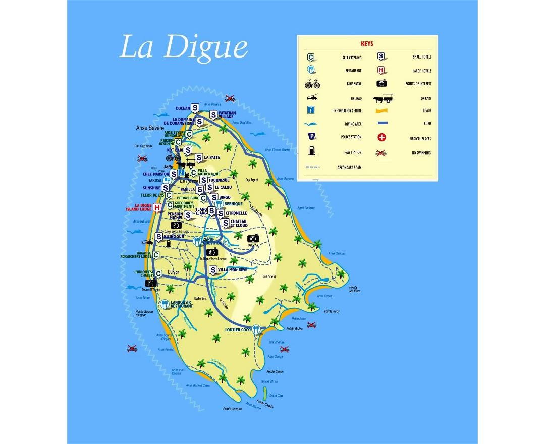 Large tourist map of La Digue Island (Seychelles) with all marks